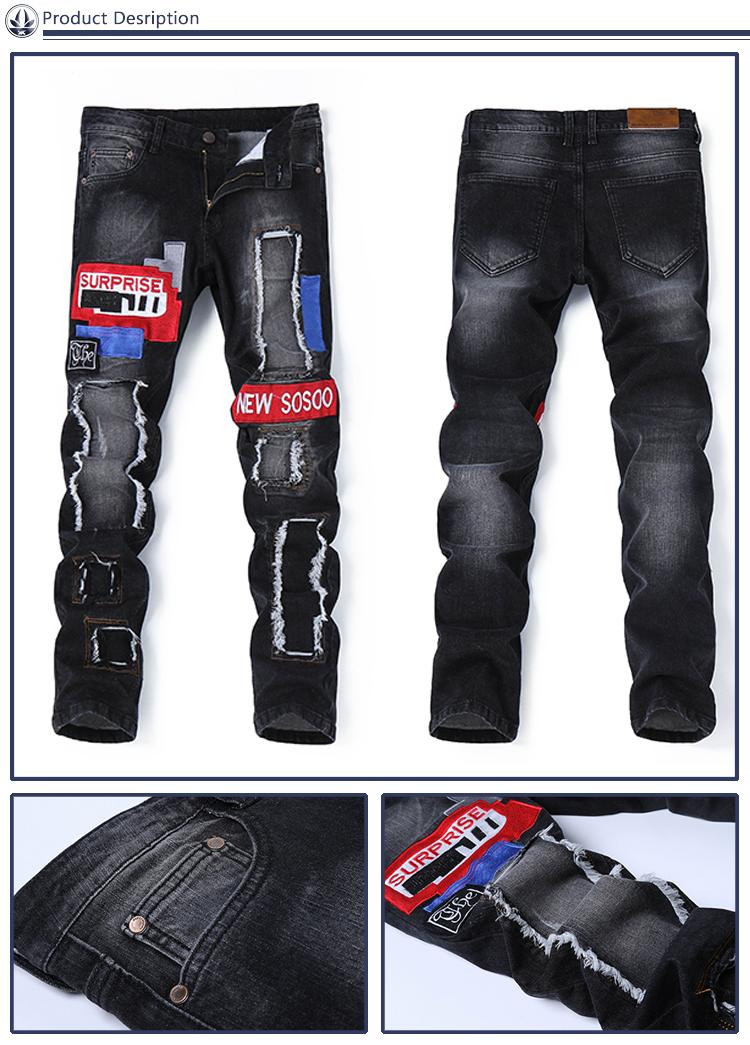 Los hombres de último diseño pantalones de mezclilla enamorado de pantalones vaqueros rasgados para hombres