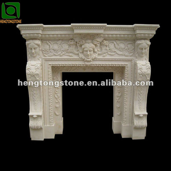 White Granite Fireplace Surround Carving
