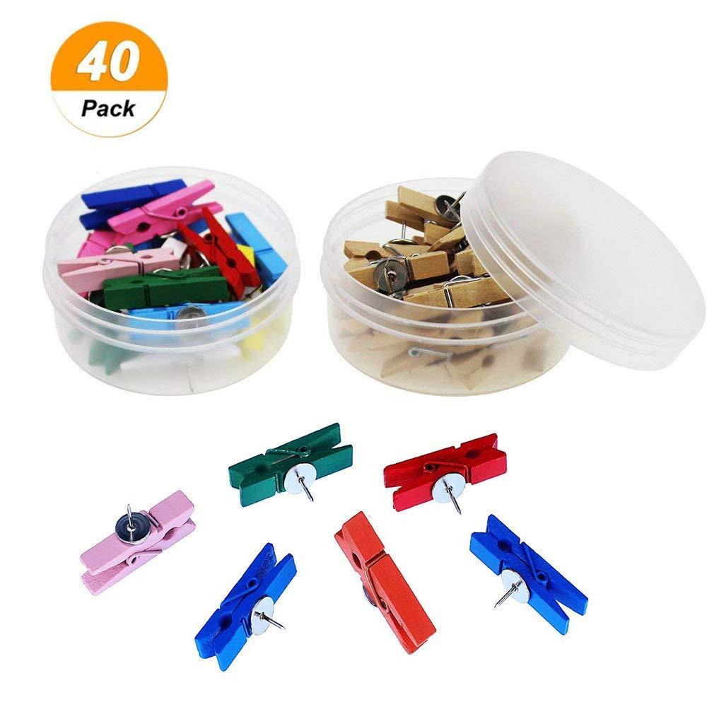 Darmal 40 Pcs Push Pins with Wooden Clips, Tacks Thumbtacks Pushpins, Paper Clips for Cork Board, Photo Wall Craft, Projects, Notes, Artworks (Random Multicolor)