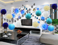 chinese Party Decoration Kit Blue Tissue Paper Pom Poms Flowers Papers Lanterns Circle Garland Birthday Wedding Banner Wholesale