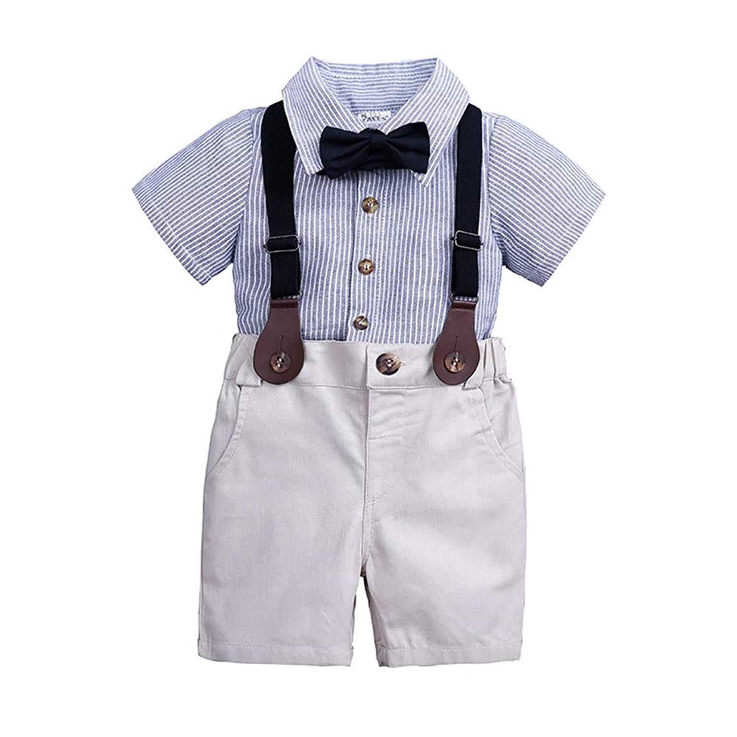 ad638bfb6ed1 Get Quotations · LOOLY Baby Boys Gentleman Outfits Suits Infant Striped  Shirt+Bib Pants+Bow Tie