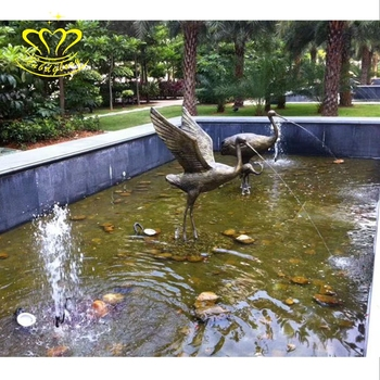 Popular design Metal Craft New product bronze Crane Statue Water fountain  for garden home decor