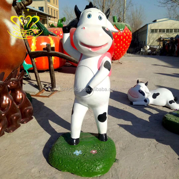 Hot Sale Fiberglass Sculpture New product Life Size Painted colorful cow for home & garden Decoration