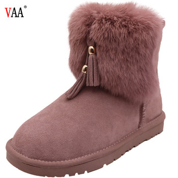 AN-CF-58 High Discount Genuine Leather Sheepskin Lined Rabbit Fur Outside Antiskid Rubber Sole Winter Snow Women Fashion Boots