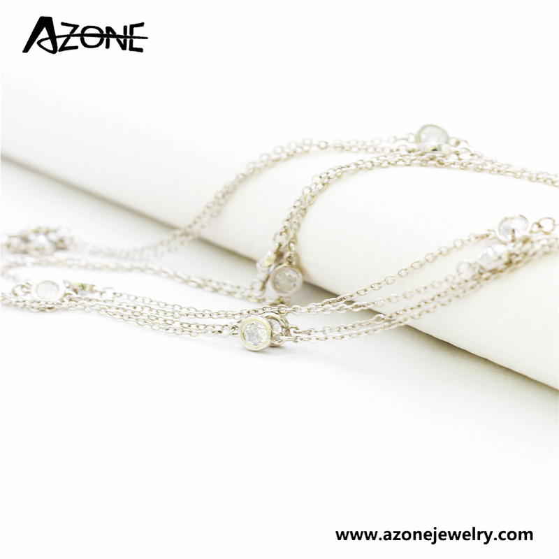 New products long line 925 sterling silver necklace crystal pendant jewelry