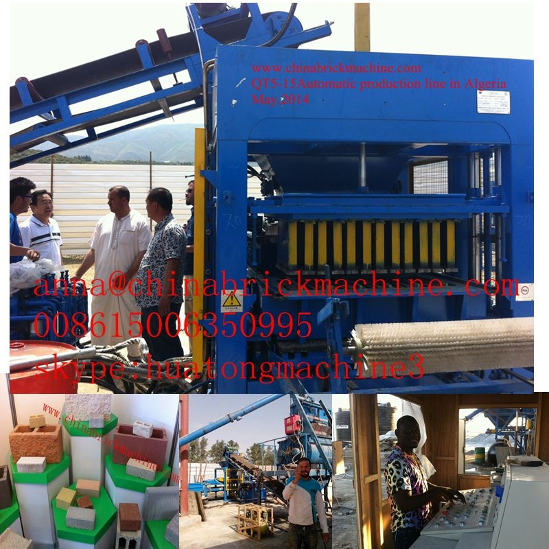 QT10-15 Full automatic cement hollow block machine/road curbing machine