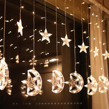 LED Romantische Moon Star Gordijn String Fairy Licht voor Kerst <span class=keywords><strong>Diwali</strong></span> Ramadan Mall Tuin Patio Decoratie 8 Functies