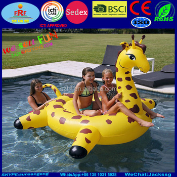 Charming Giant Inflatable Giraffe Island, Pool Float Giraffe Water Beach Lounger