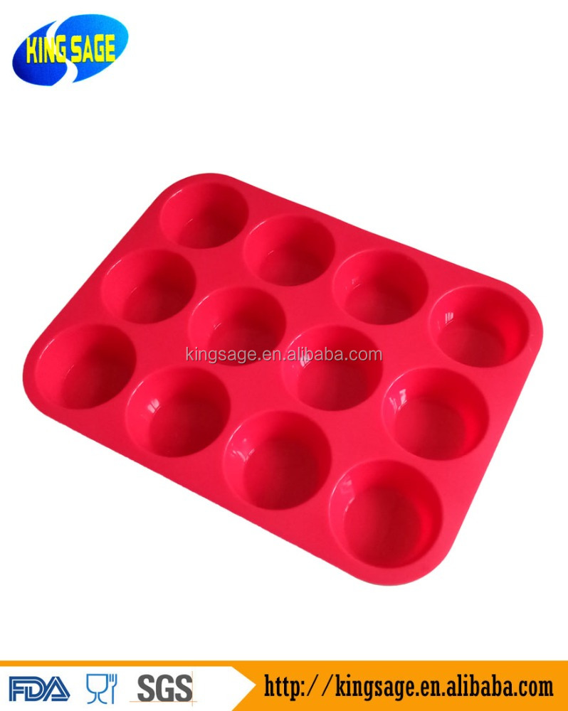 Large 12 cup Silicone Muffin Cupcake Pan - Non-Stick BPA free Food Grade Mold Baking Tray Heat Resistant Dishwasher safe