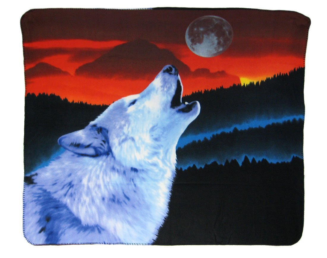 "Howling Wolf Fleece Throw Blanket 60"" X 50"" Wolves"