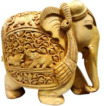 Indian wooden carving elephant handicraft home decor items for West materials crafts in hindi
