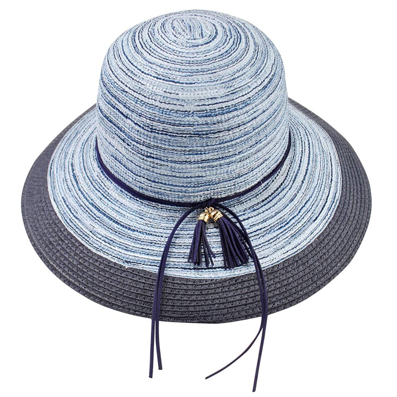 f4ecec89 Get Quotations · Women's Summer Big Wide Brim Beach Hat Floppy Foldable  Cotton Straw Sun Hat
