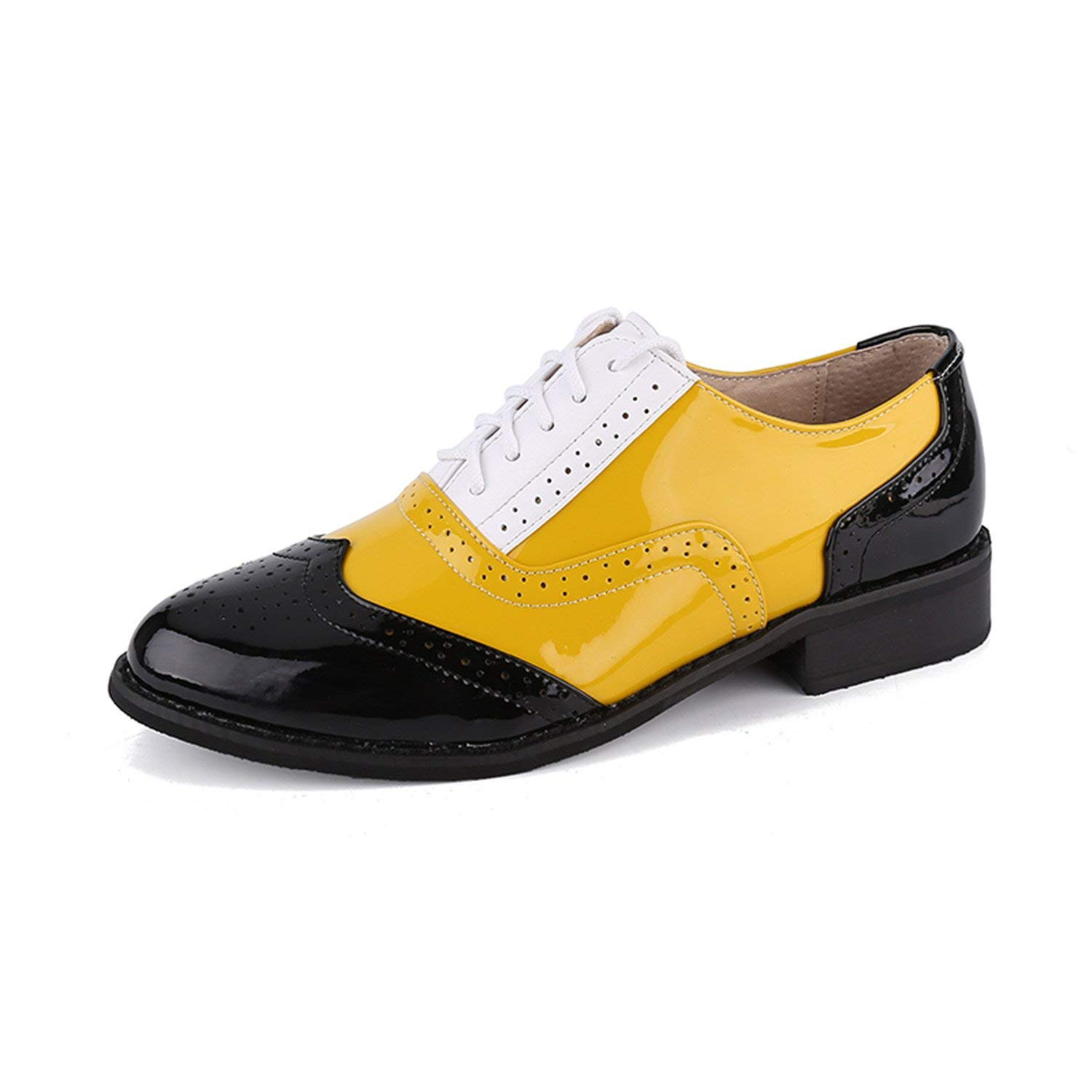 ec8991a47a59 Get Quotations · Aancy Shoes Female Yellow Patent Leather Flat Shoes Plus  Size Oxford Shoes Zapatos Oxford 3-