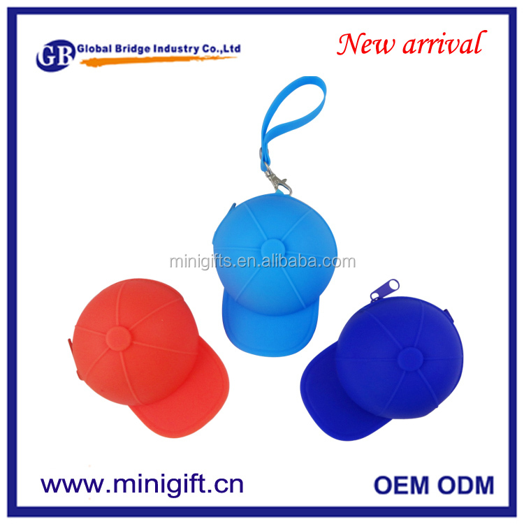New arrival base ball cap shape Coin Purse Custom logo Silicone Coin Bag
