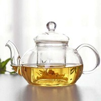 High borosilicate glass teapot with glass infuser