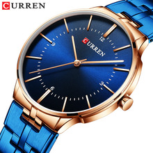 Montre Homme 2019 Curren Luxury Brand Watches Men Quartz Fashion Casual 남성 Sports Watch 풀 Steel Military Watch Blue Dial