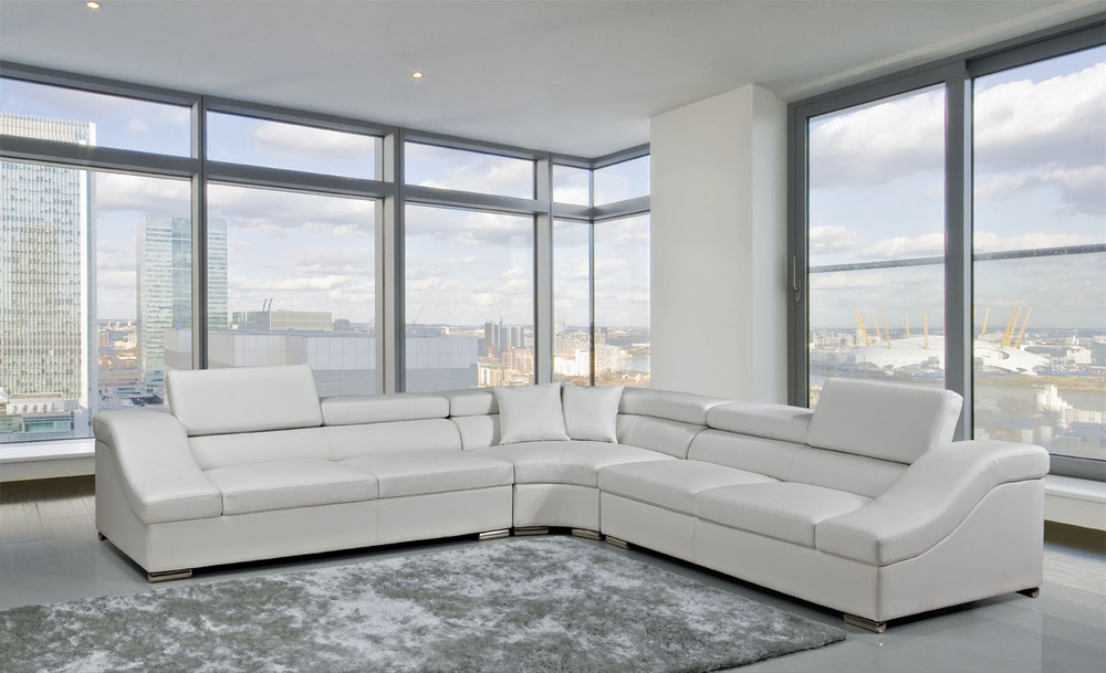 White Leather Corner Sofa Sectional L Shape