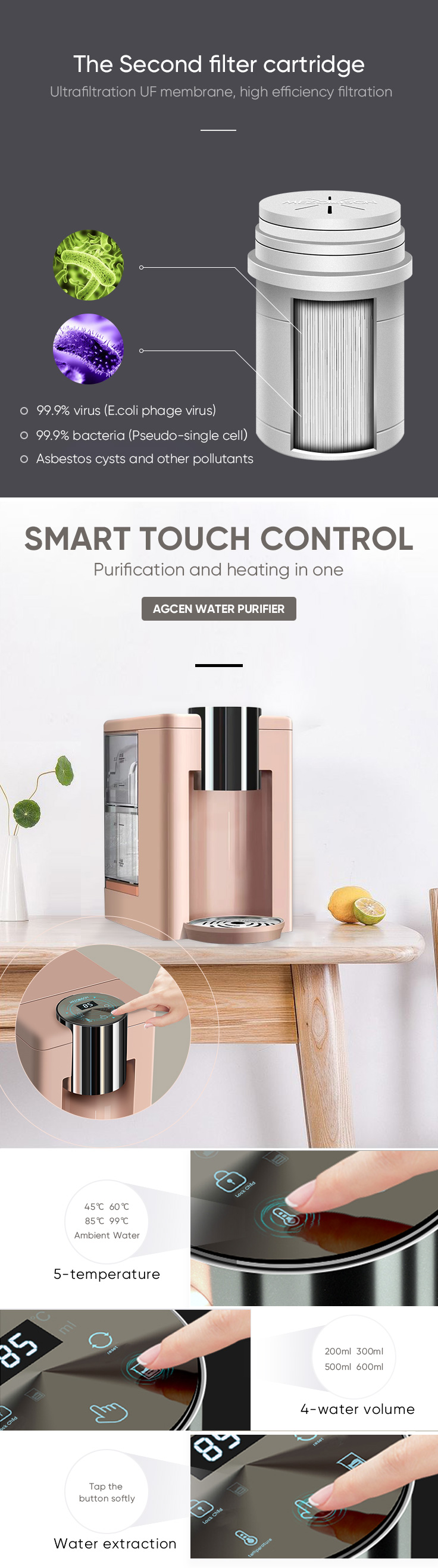 2019 mini children mini water dispenser UF water purification system