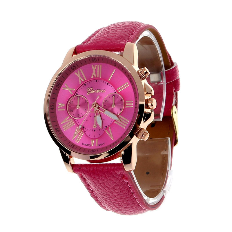 ce9fdc363b00 Buy 2015 New hours Geneva Roman Numerals Faux Leather Analog Quartz Watch  Women Watches Wrist Watch woman geneve watch wholesale in Cheap Price on ...