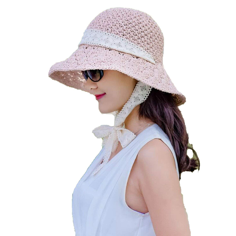 dd8624a4 Get Quotations · Summer Handmade Crochet Grass Hat Ladies Big Hollow Hats  Collapsible Sunscreen Big Sun Beach Hat