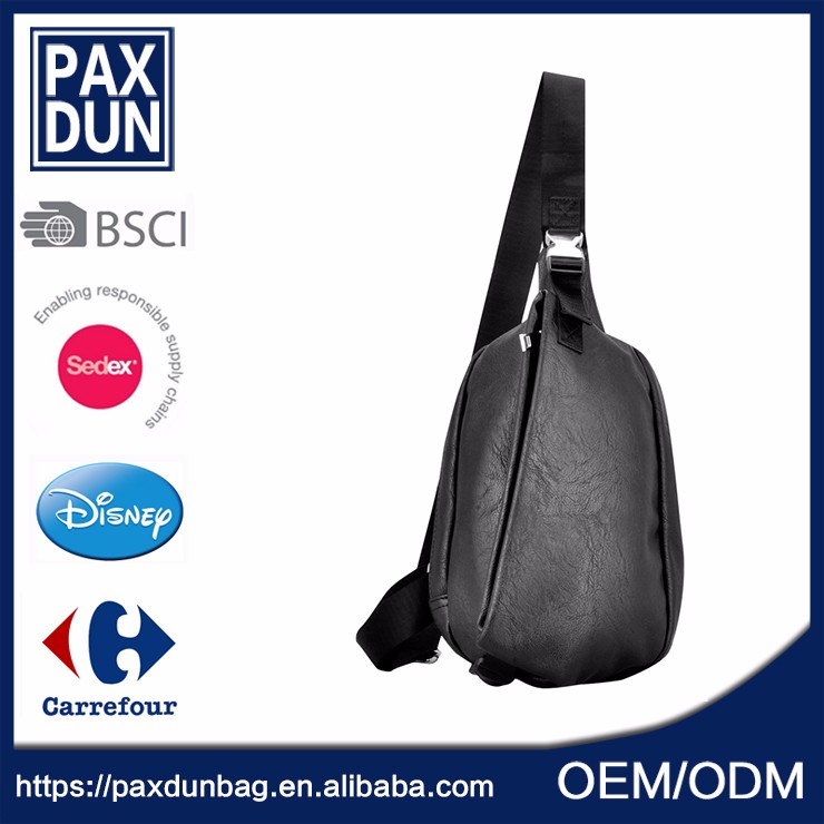 Waterproof black pu leather sling bag chest <strong>shoulder</strong>