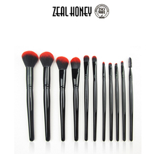 Zealhoney Profeesional factory price makeup brush blush brush set with 11pcs wood handle