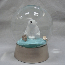 Custom 100cm resin white bear water globe snow globe high quality