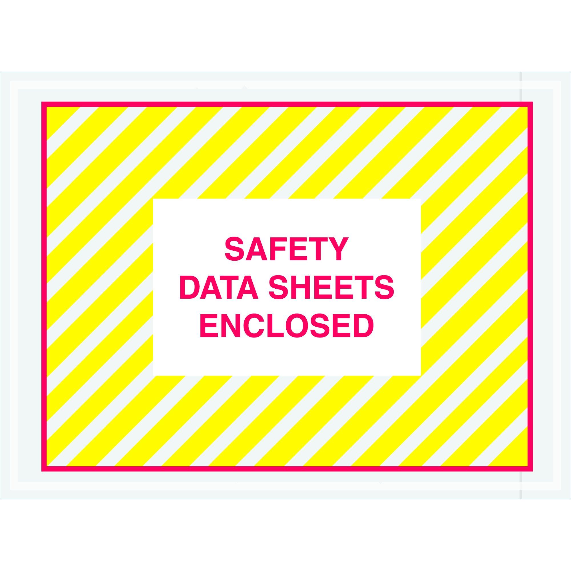 "Tape Logic TLPL498 ""Safety Data Sheets Enclosed"" SDS Envelopes, 4 1/2"" x 6"", Printed Clear (Pack of 1000)"