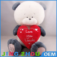 Stuffed soft plush bear with red love heart,nice gift toys