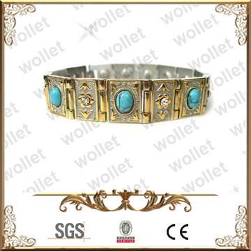 Embossed design Blue Turqoise Stainless Steel Tibetan Jewellery Wholesale