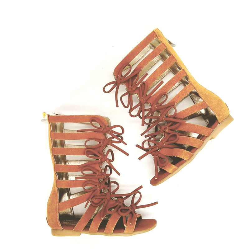 wholesale summer girl soft leather knee high baby kids gladiator sandals shoes
