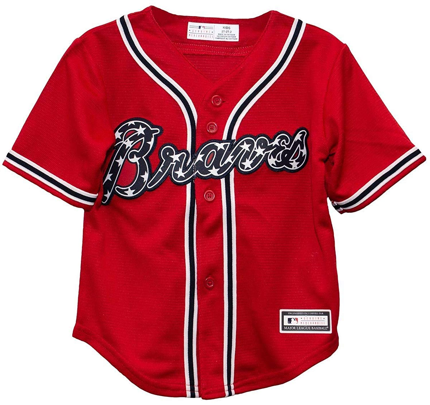 b2f0228a5 Get Quotations · Outerstuff Atlanta Braves Blank Red Youth Cool Base  Alternate Jersey