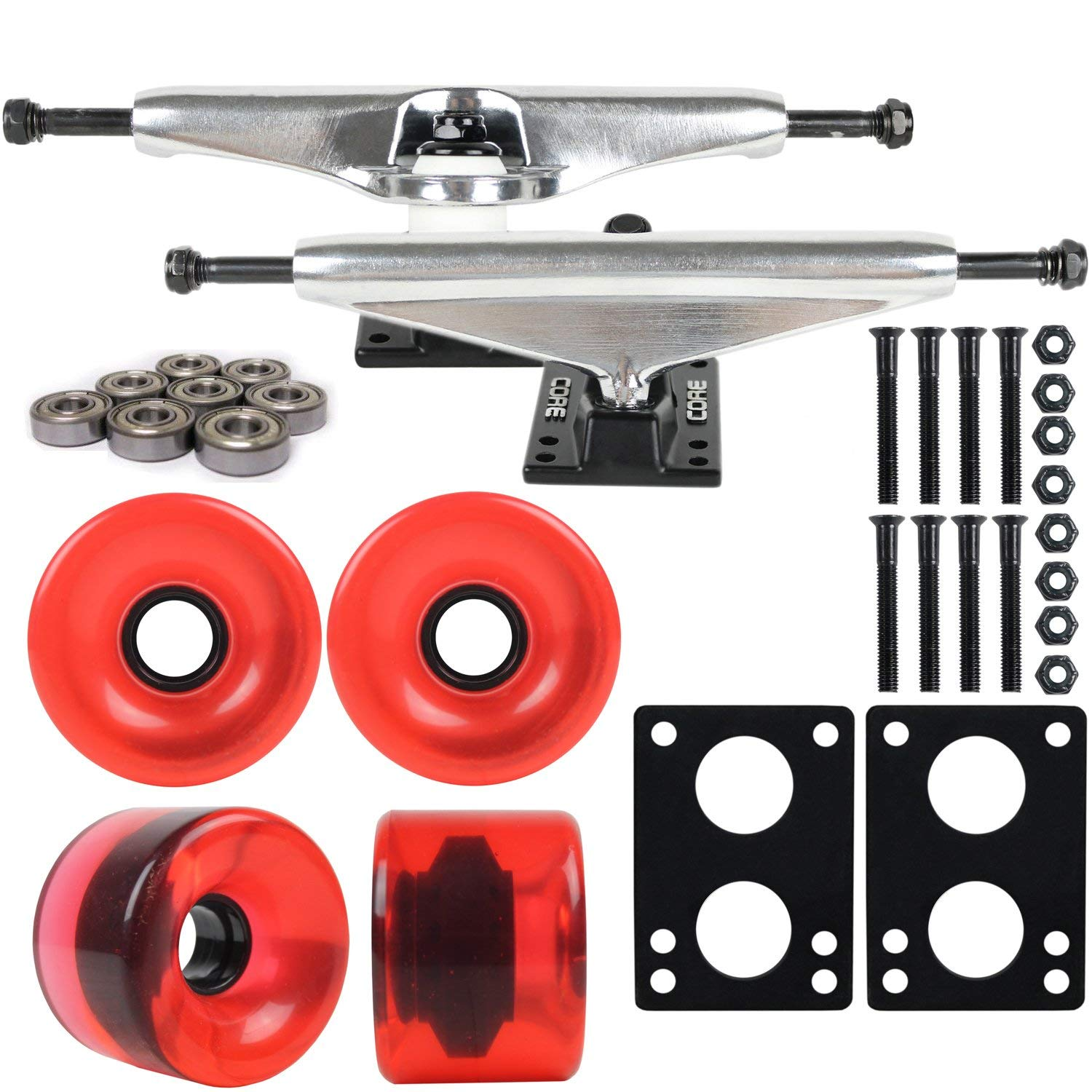 "Longboard Skateboard Trucks Combo Set 76mm Blank Wheels with Silver Trucks, Bearings, and Hardware Package (76mm Translucent Red Wheels, 6.0 (9.63"") Silver Trucks)"