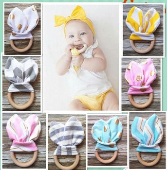 Baby Soothers Teethers New Natural Wood Circle Teeth Practice teether Toys Training Rabbit Ear bamboo Fabric For Newborn INS