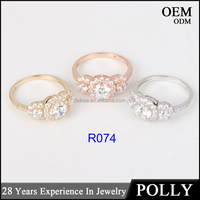 Top quality solid jewellry factory price ring 14K gold AAAAA CZ ring wedding band ring fashion jewelry