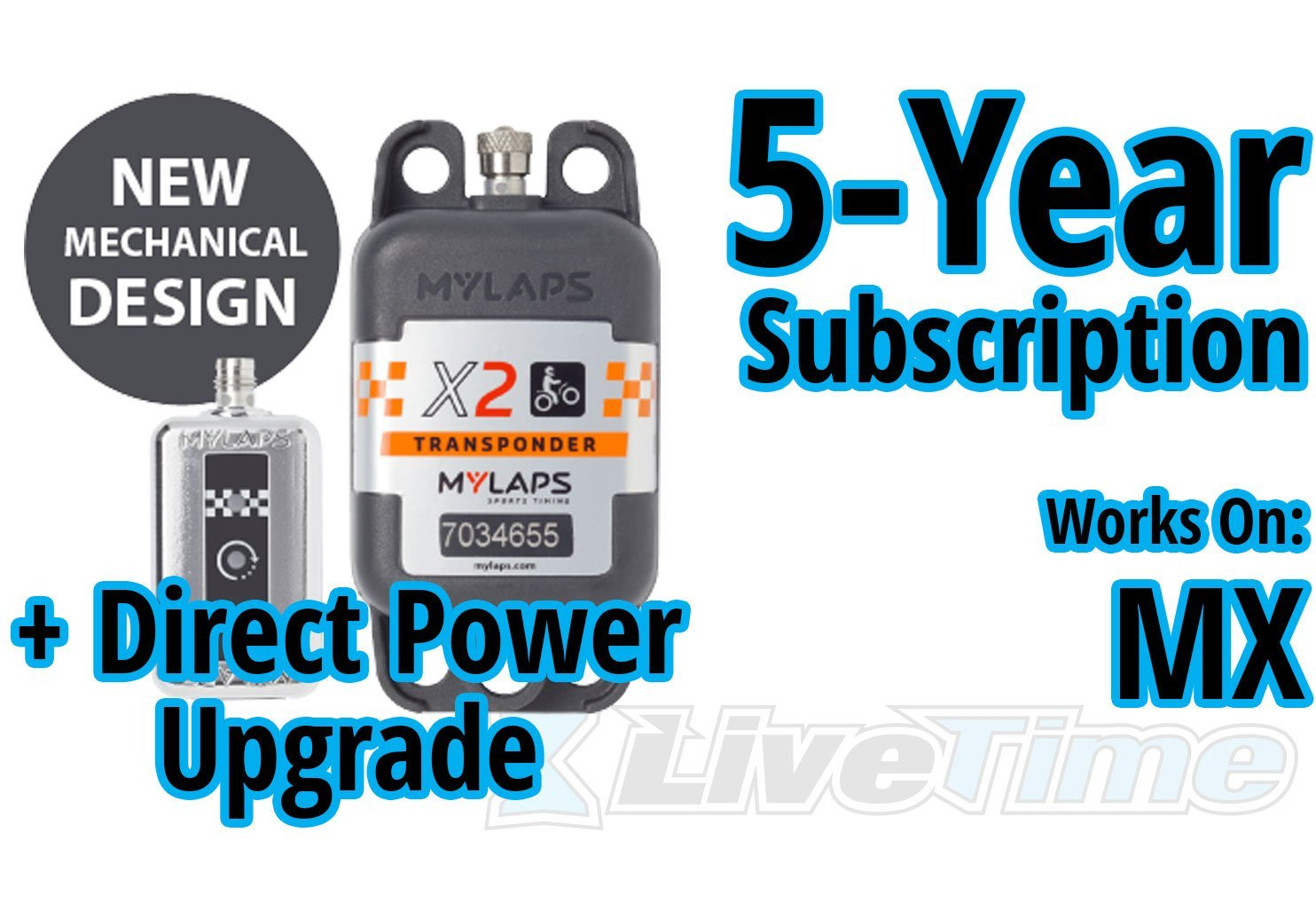 MyLaps X2 Transponder, Direct Power, for MX (motocross), includes 5-Year Subscription
