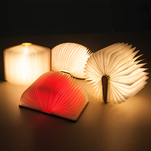 LED Book Light 5 Color Folding Book Shape Night Novelty USB Rechargeable Lamp