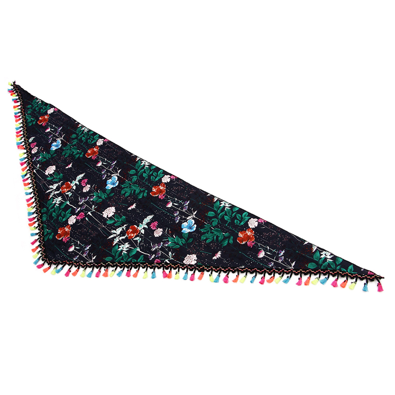 printed polyester triangle neck scarf with fringe