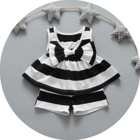 Factory Wholesale Price Modern Child Clothes Set Lovely Bowknot Stripe Design Baby Clothes