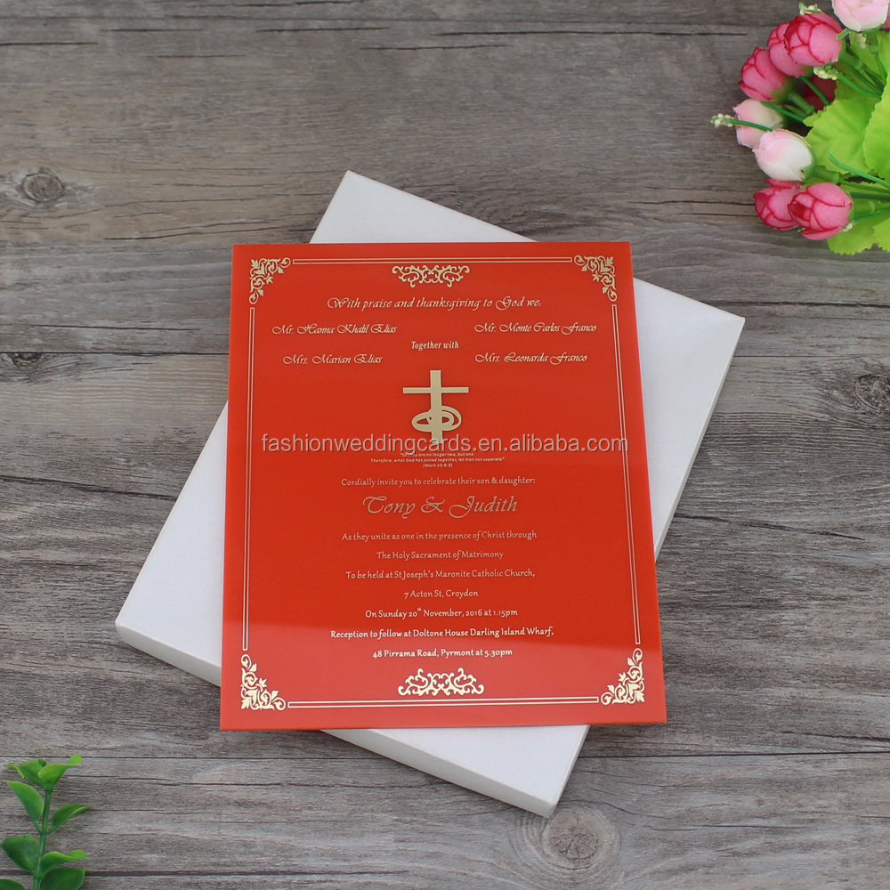 Gorgeous Hardcover Boxed Invitation Foil Print Frosted Acrylic ...