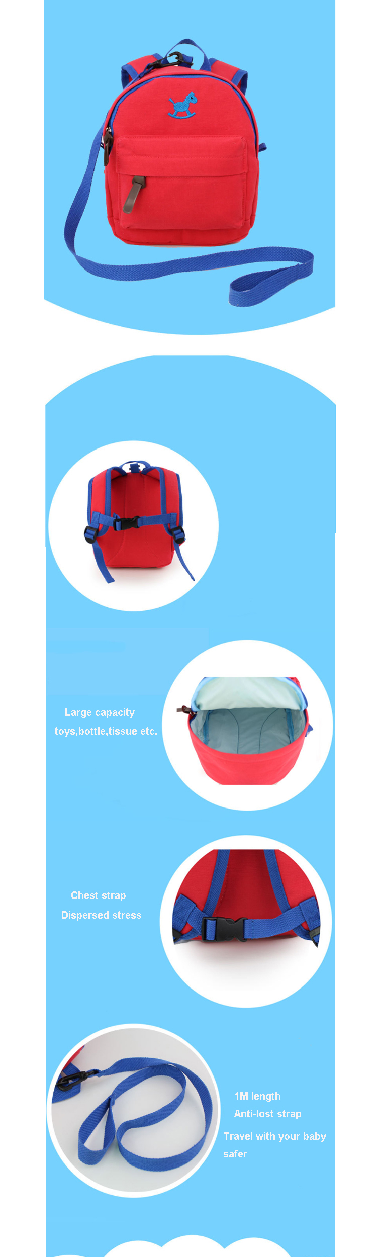 Osgoodway2 Baby Safety Anti-lost Kids School Bag Toddler Walking Kids Bag School Backpack Canvas