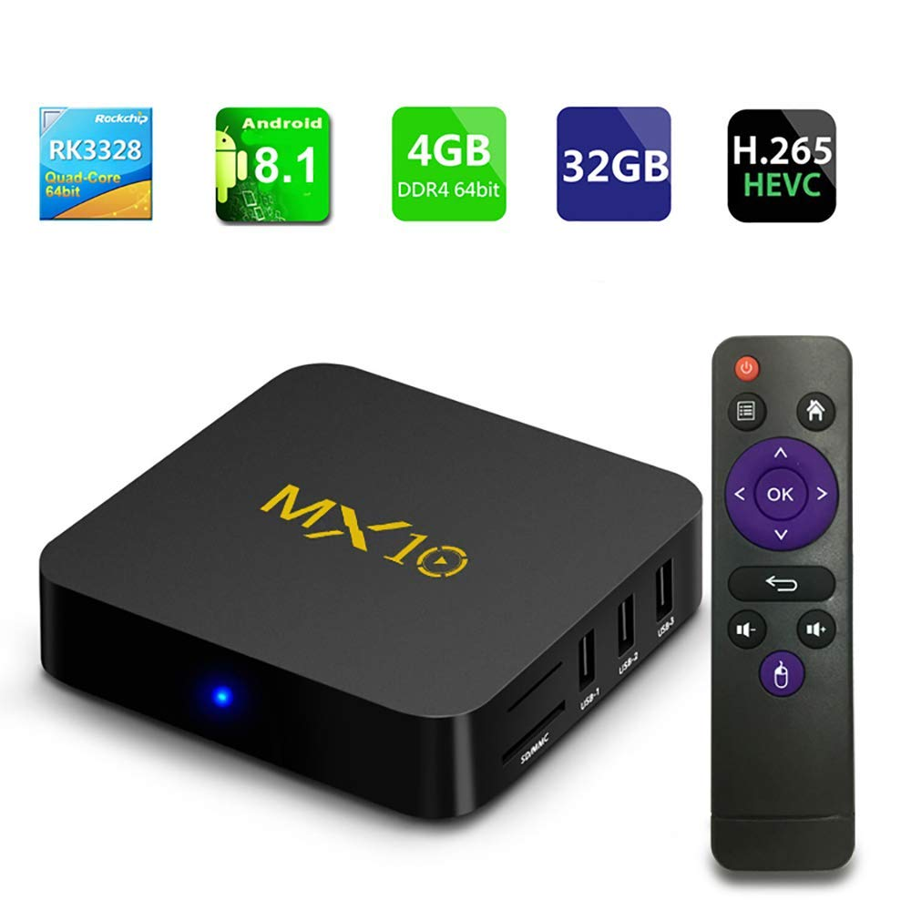 MX10 Android 8.1 TV Box 4GB 32GB HDMI USB 3.0 RK3328 Quad Core 2.4Ghz WiFi BT4.0 Set-Top Box 100M LAN 3D 4K HDR Smart 4K HD Media Player