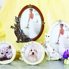 Zinc Alloy-Epoxy Coated- Jewels inlay-Cat and Dog Pet Photo Frames