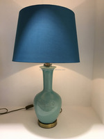 UL CE RoHS listed Home decorative light blue ceramic table lamp with antique brass base and black linen shade ul portable lamp