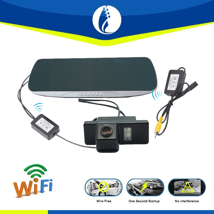 Wiring free Wifi Wireless GPS Navigation HD Car Dual Camera Rearview Mirror Monitor