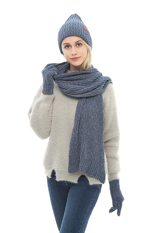 ff27a570aa8 Get Quotations · Lanzom Women Men Warm Winter Men 3 PCS Knitted Set Knit Hat  + Long Scarf +