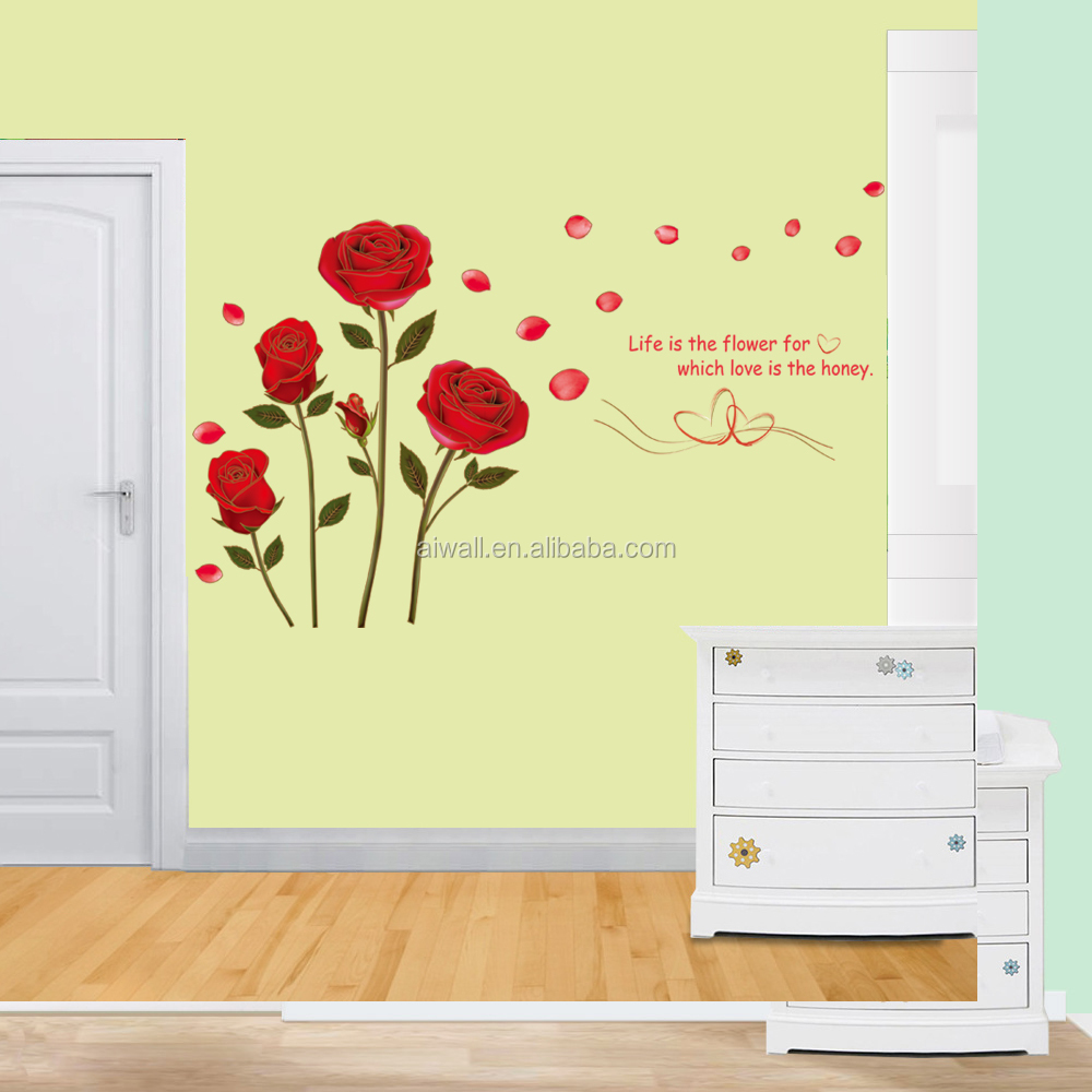 6005-y Rose Decals Flowers Plant Wall Decals Room Decor Wall Art ...