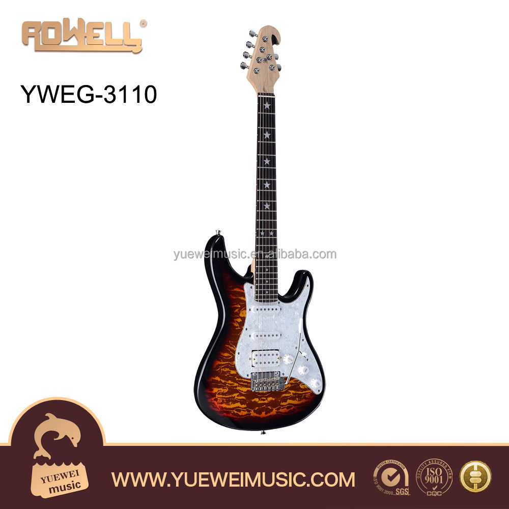 Electric Guitar musical instrument hard wood+ stamped top YWEG-3110