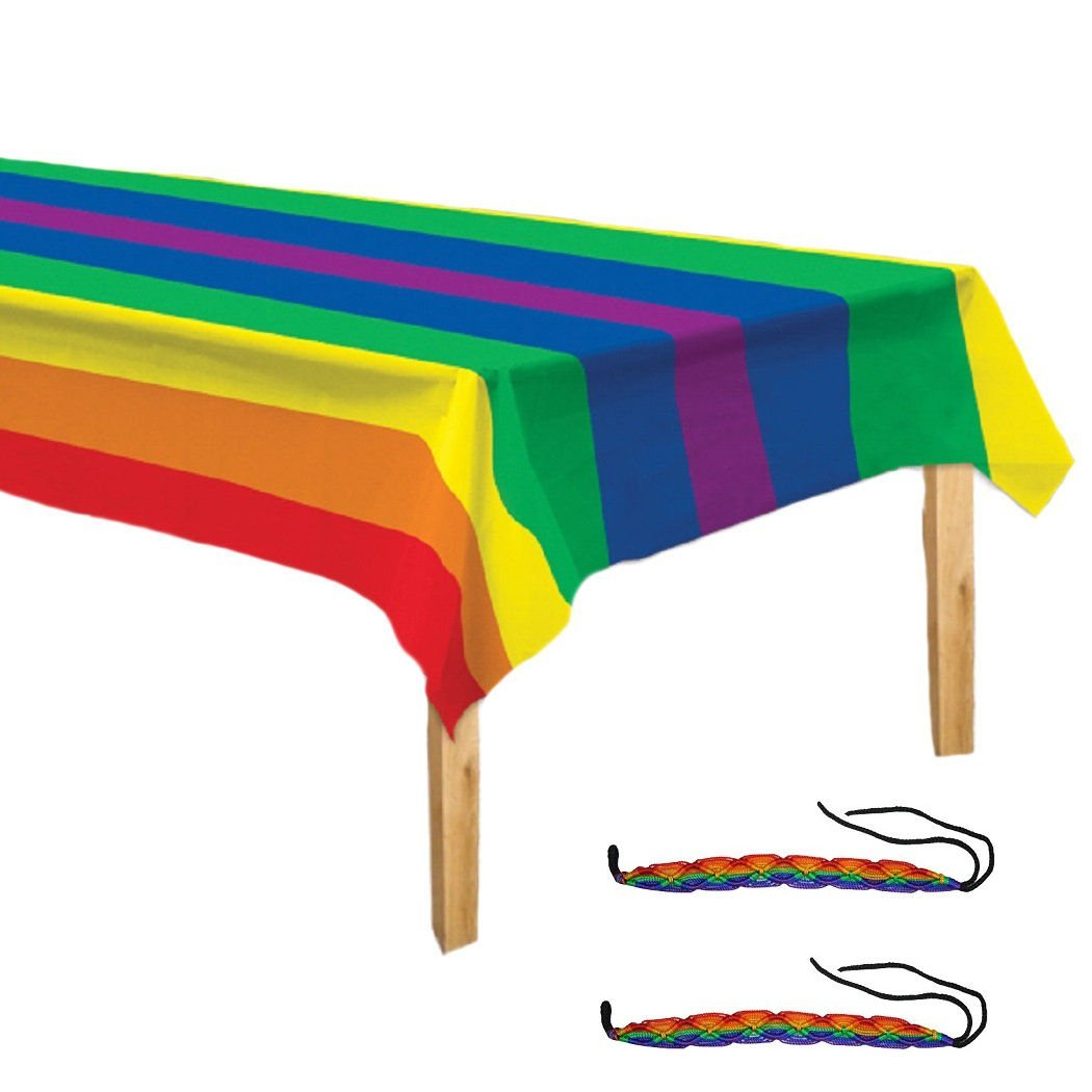 Rainbow Pride Tablecover & 2 Gay Pride Friendship Bracelets Multi-Pack Gay Lesbian LGBT