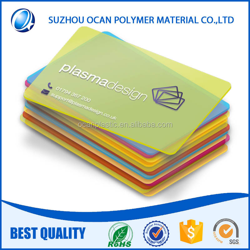 Colorful Frosted Transparent Plastic PVC Sheet for Business Card Material